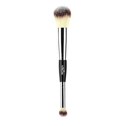 NMKL38 Double Ended Complexion Brush Face Concealer Powder Makeup Brush, Blending Liquid Foundation, Cream Cosmetics - Black Handle, Vegan Brush, Cruelty Free
