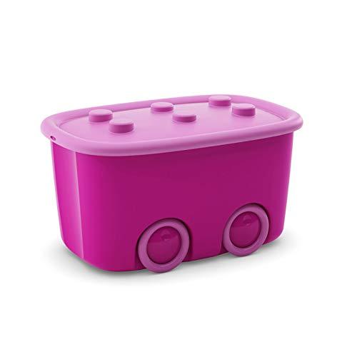 KK Verpackungen Spielzeugkiste mit großen Rädern & aufliegendem Deckel   Spielzeug-Aufbewahrungsbox aus Plastik mit 46 Liter & in Pink/Rosa, 580x385x320mm