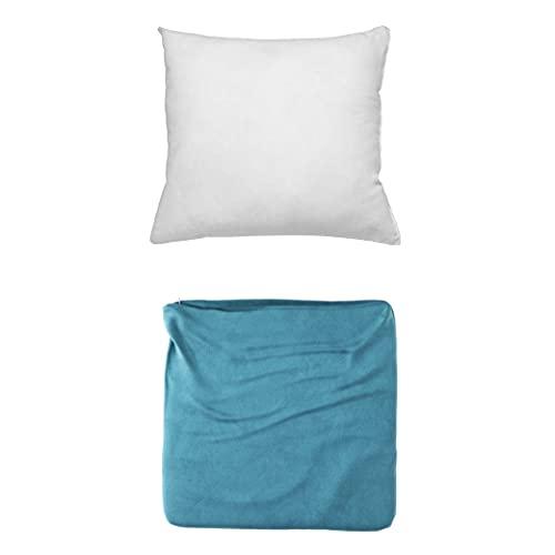 Cojines Sofa con Relleno Incluido Pack de Cojin + Funda 35x35 en Color Azul / Cojines Decorativos para Sofa , Cama , Salon / Fundas de Terciopelo Elegantes para la decoración del hogar