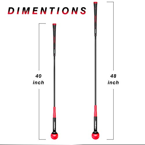 Champkey Golf Swing Trainer - Tempo & Flexibility Training Aids Warm-Up Stick Ideal for Golf Indoor & Outdoor Practice (Red, 48 Inches)