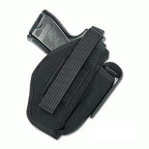 PIELCU 60321. Funda Pistola de Cordura con Portacargador. Negra. Válida para Modelo H&K USP Compact y Walther P99 Compact. Sistema Cierre de Broche