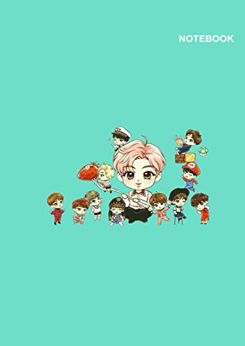 BTS notebook under 5 dollars: Lined Pages, 110 Pages, (8.27 x 11.69 inches) A4, BTS with food Cute Chibi Style Cover.