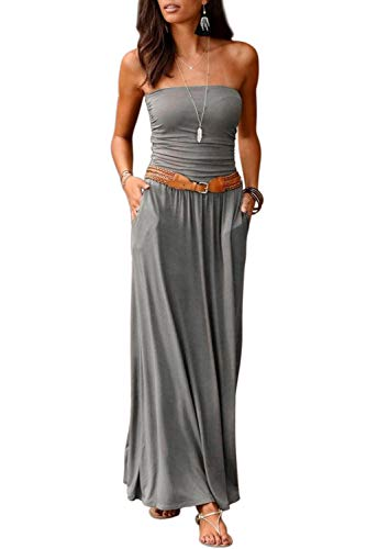 Ancapelion Damen Blumenmuster Maxikleid Langes Kleider Bandeau Kleid Böhmen Sommerkleid Trägerloses Strandkleid Elegante Abendkleid (Einfarbig-Grau, L)
