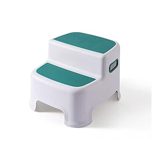 CQILONG Niño Taburete, Lavado de Manos Antideslizante Pasos, De múltiples Fines el plastico Espesar Pila portátil Taburete de baño Fuerte Capacidad de Carga Dos Colores