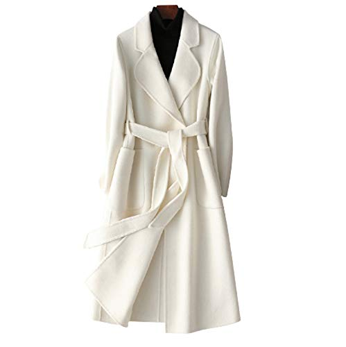 XMZFQ Womens Wool Trench Coats Autumn Winter 100% Wool Solid Color V-Neck Coat Slim Warm Long Cashmere Woolen Overcoat Cardigan Jackets Outwear with Belt,White,L