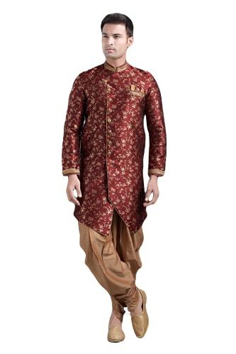 Conjunto de pijama tradicional étnico real de estilo indooccidental de boda para hombre, Vino, 50 cm