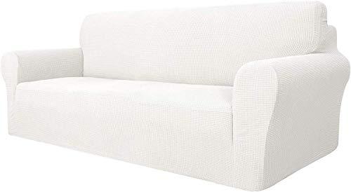 1 funda universal para sofá, tela de poliéster y licra de 1 2 3 4 plazas, elegante funda de sofá jacquard y protector de sofá elástico (blanco, 3 plazas/sofá)