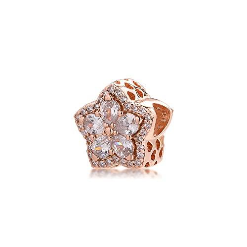 LILANG Pulsera de joyería Pandora 925, ajustes Naturales para Collares, Cuentas de Copo de Nieve Brillantes, abalorio de Plata esterlina para Mujeres, Regalos DIY