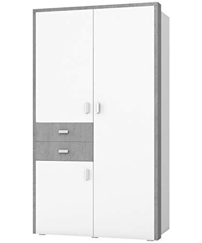 Furniture24 Kleiderschrank BOTA-M 18, Schrank, Drehtürenschrank mit 3 Türen, 5 Einlegeboden, Kleiderstange und 2 Schubladen