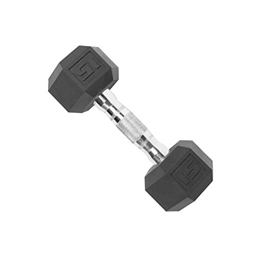 CAP Barbell SDP-015 Color Coated Hex Dumbbell, Black, 15 pound, Single