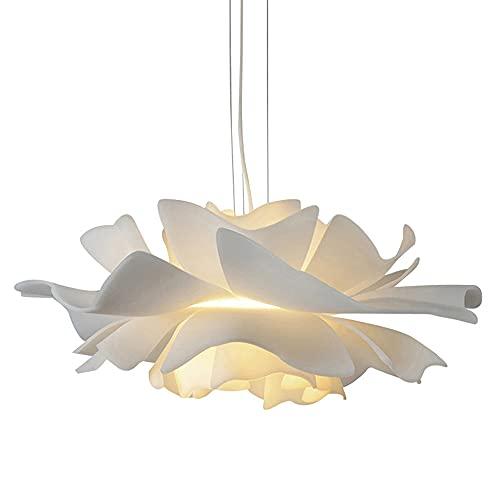 Moderna Lámpara Colgante Plumas Blancas Para Habitación Niñas Colgante de Luz Para Sala Estar Luces Colgantes Comedor Ajustable Altura Lámpara de Techo Dormitorio Forma Flor Diseño, E27 * 2, Ø40cm