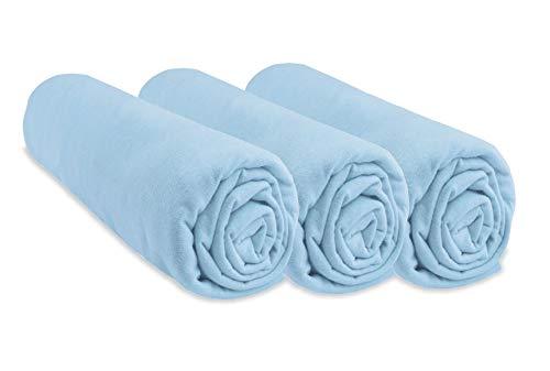 Lot de 3 draps Housse Jersey Coton - 50x100 - Ciel