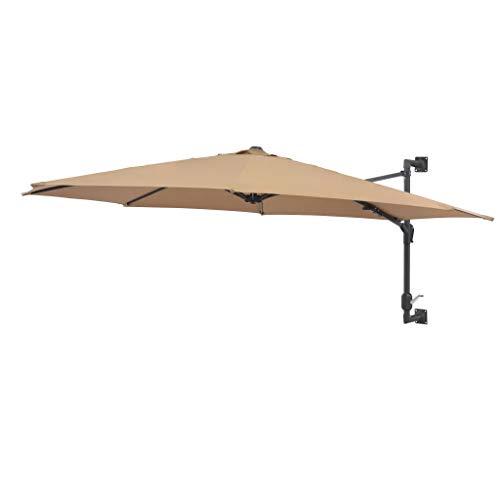 GOTOTOP - Sombrilla de pared resistente a los rayos UV con 8 varillas de metal, 300 cm, color marrón