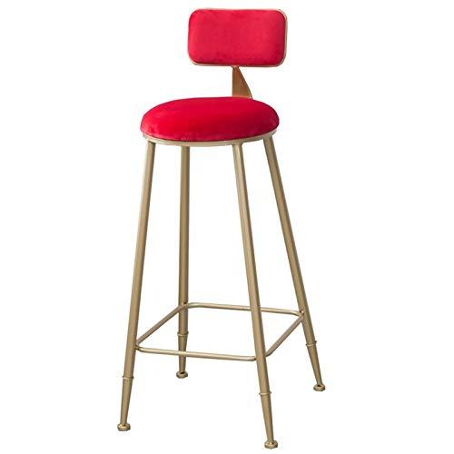 WHOJA Taburete de Bar Muebles de Bar Taburete Alto de Cocina Terciopelo de Nuevo Sillas de Comedor de Tela Marco de Metal Rodamiento Peso 120 kg 75cm de Alto Silla de Comedor (Color : Red)