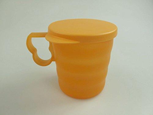 TUPPERWARE Junge Welle Trinkbecher 350 ml orange Becher mit Henkel und Deckel