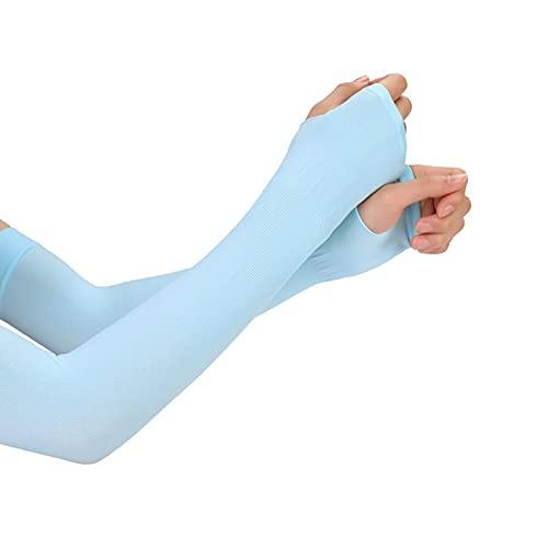 Manga de protección UV, unisex, unisex, protección solar, manga de seda de hielo, calentador de brazos, color azul, tamaño: talla única