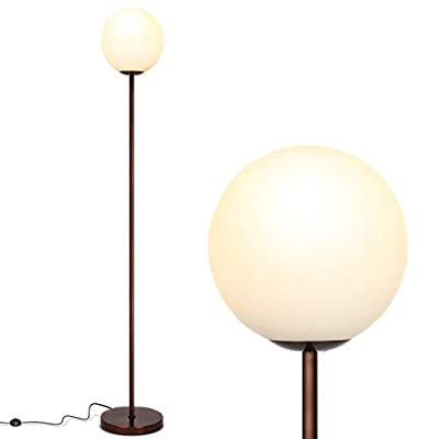 Brightech Luna - Frosted Glass Globe Floor Lamp - Mid Century Modern Standing Lighting for Living Rooms, Gets Compliments - Indoor Pole Light for Bedroom & Office - with LED Bulb- Oil Brushed Bronze