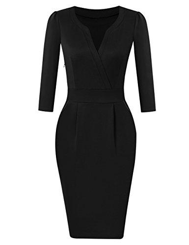 KOJOOIN Damen Elegant Etuikleider Knielang Langarm Business Kleider Cocktailkleid Schwarz XL
