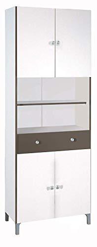 habeig Hochschrank #540 weiß Basalt Küchenschrank Küchenregal Schrank Küche Buffet Regal
