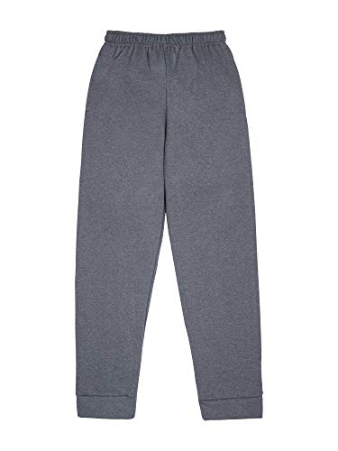 Fruit of the Loom Boys' Fleece Jogger Sweatpant, CHARCOAL HEATHER/TIMES SQUARE NAVY STRIPE, Medium