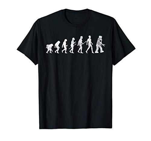 Evolution of Man to Robot Funny Family Party Joker Hobby Fun T-Shirt