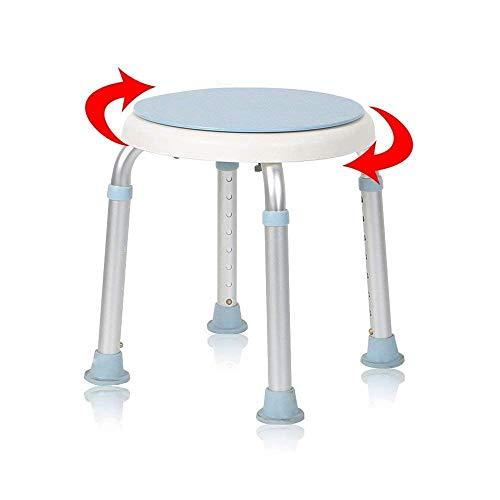 AUFUN Duschhocker Duschstuhl 36-51cm Höhenverstellbar und 360° Drehbar Badsitz Duschhilfe Anti-Rutsch Badsitz aus Alu und Kunststoff für Alter, Schwangere (Type B)