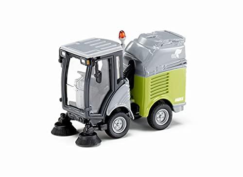 SIKU 2936, Kehrmaschine inkl. Mülltonne, 1:50, Metall/Kunststoff, Grau/Grün, Bewegliches Gelenk