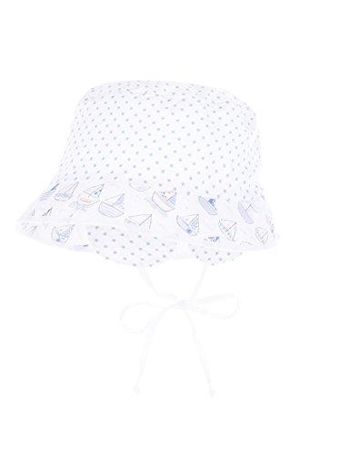 maximo Baby-Jungen Sommerhütchen Bindeband, Ohrenklappen Mütze, Mehrfarbig (Weiß/Hellblau - Sterne 64), 47