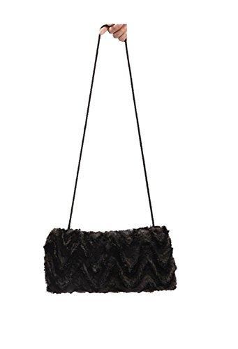 SwirlColor Black Faux Fur Hand Muñecos Handwamer con cordón del cuello, Mujeres Faux Fur Shoulder Bag