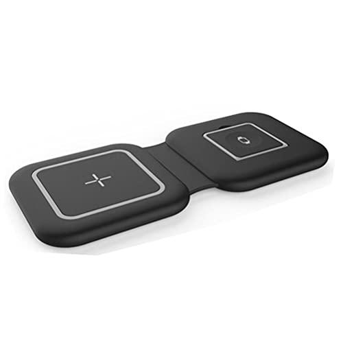Enkomy Cargador inalámbrico magnético, Base de Carga magnética Plegable portátil 2 en 1 de 15 W Compatible con iPhone 12 / iWatch/AirPods, Negro