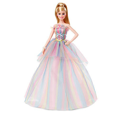Barbie GHT42 - Barbie Signature Birthday Wishes Puppe, ca. 30 cm groß, mit Regenbogenkleid