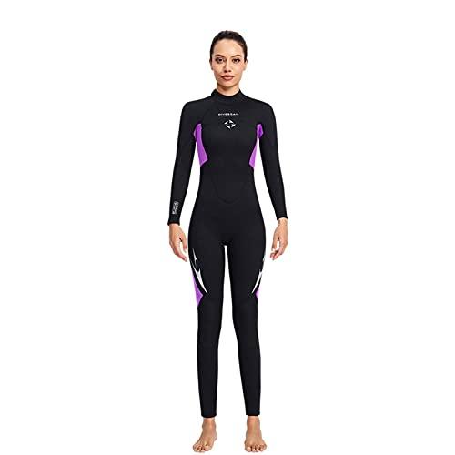 Trajes De Neopreno Manga Larga Térmica 3mm Buceo, Traje Surf Una Pieza para Deportes Acuáticos para Hombres Y Mujeres para Snorkel Surf Buceo (2XL,Woman/Purple)