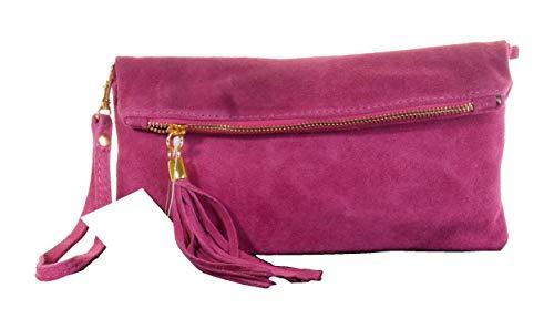 Primo Sacchi Italiano Suede Clutch in pelle fucsia rosa piegare sopra, polso o borsa a tracolla.Include una custodia protettiva marca.