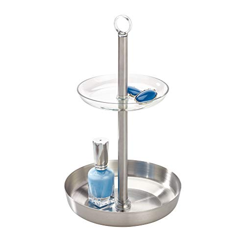 Price comparison product image iDesign Austin Accessory,  Two Makeup Stand,  Tiered Tray Crafted from Plastic and Stainless Steel,  Clear / Matte Silver,  Metal,  15.2 cm in diameter x 25.6 cm