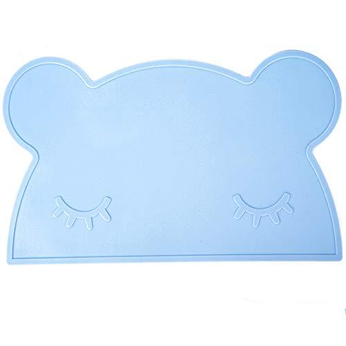 Vektenxi Baby-Tischset Faltbare Auflagen Silikon-Tischset Isolierauflagen Baby-Tischsets für Kinder Bärnform (Bule)