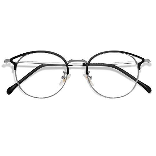 SOJOS Blaulichtfilter Brille PC Gaming Brille ohneStärke Katzenaugen Oasis SJ5035 mit Schwarz und Silber Rahmen/Anti-Blaulicht Linse