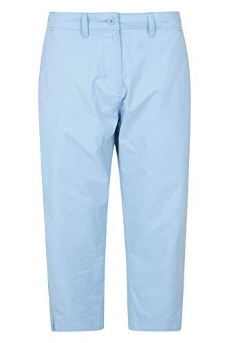 Mountain Warehouse Pantalones Somerset Tipo Capri Informales para Mujer - Ligeros, con protección UV, antimosquitos, elásticos, con Bolsillos - para excursiones y Viajes Azul Claro 34