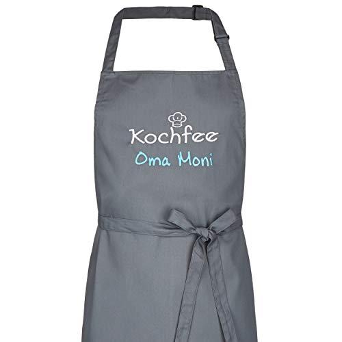 Wolimbo Kochschürze Grillschürze mit Ihrem Wunsch-Namen und Wunsch-Motiv - Farbe: anthrazit - die individuelle Schürze für Herren und Damen mit verstellbarem Nackenband
