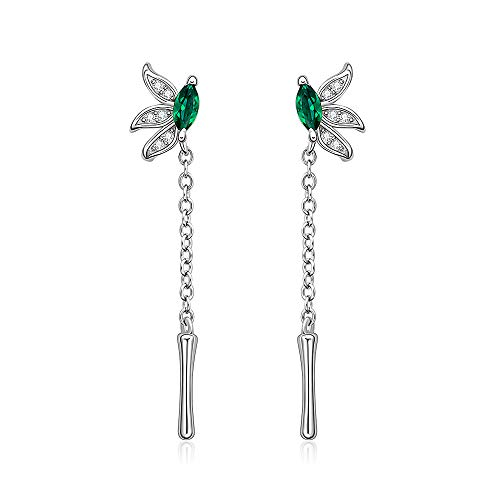 Bamboo Leaf Earrings Sterling Silver Stud Dangle Hypoallergenic for Women Diamond Green Emerald Cartilage Huggie Droop Hook Cute Weird Christmas Gift -  Designer Fabrics, B002