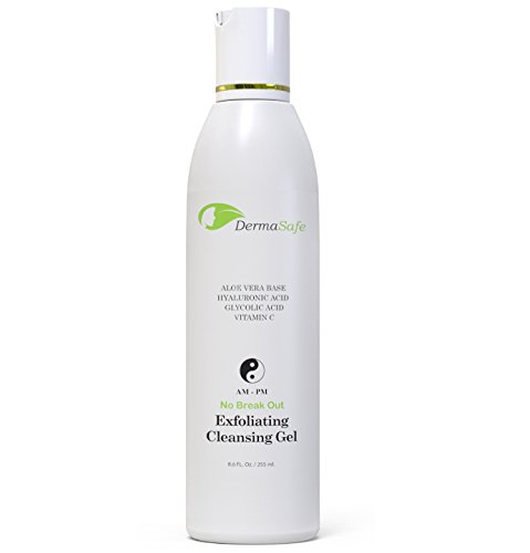 Exfoliating Face Scrub – Glycolic Acid Facial Cleanser Wash With Hyaluronic Acid, Witch Hazel and Vitamin C – Best Value - Huge 8.9 oz