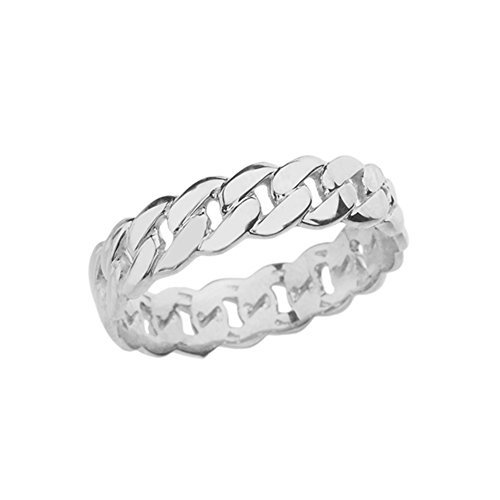 Celtic Rings Sterling Silver Gracious 5 mm Cuban Link Chain Eternity Band Ring (Size 10)