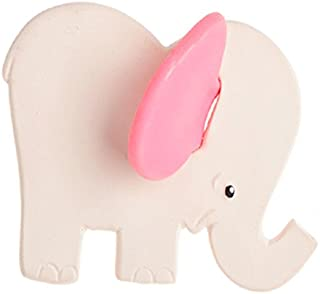 Lanco Elephant Teether - Eco-Friendly Baby Teething Toy, BPA Free 100% Natural Rubber, Safe and Fun for Infants 6 months and Up (Pink Ears)