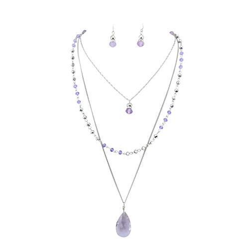 Bocar 3 Layer Jewelry Set Long Chain Pendant Bead Necklace Earring for Women (NK-10036-lilac)