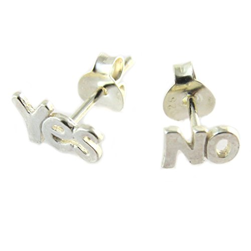 Les Trésors De Lily [P2362] - Pendientes de plata 'Yes No' - 7x5 mm.