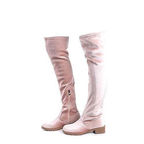 Overknee Stiefel Damen Leder PU Frauen Winterstiefel Wildleder Blockabsatz 4CM Reissverschluss Elegante Bequem Herbst Boots Beige 39 EU