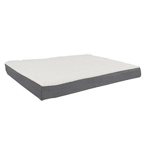 PETMAKER Orthopedic Sherpa Top Pet Bed with Memory Foam and Removeable Cover 36x27x4 Gray, Model...