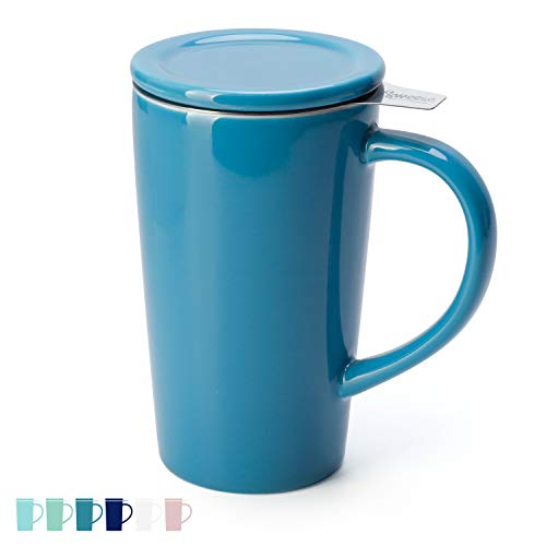 Sweese 202.107 Teetasse mit Deckel und Sieb, Tee tassen Porzellan für Losen Tee Oder Beutel, Azurblau, 450 ml