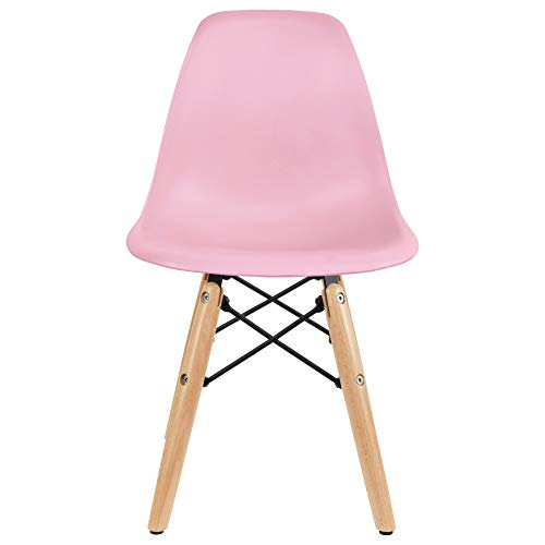 2xhome - Kids Size Plastic Toddler Chair with Natural Wooden Dowel Legs, Pink