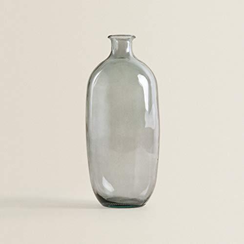 SPFOZ Jarrón de vidrio, arreglo floral transparente, florero decorativo, vidrio seleccionado, sensación cómoda, florero gris