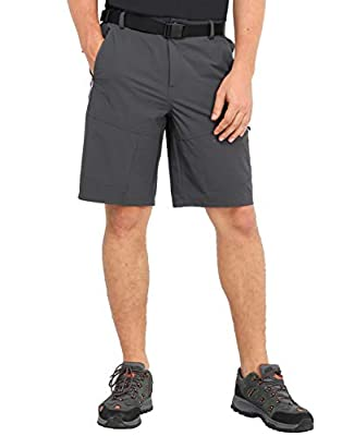 MIER Men's Stretch Hiking Shorts Lightweight Outdoor Cargo Shorts with 5 Zipper Pockets, Quick Dry and Water Resistant, Graphite Grey, 32